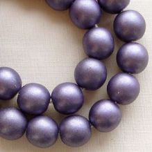 8mm Round Czech Glass Beads Dark Purple Satin - 25